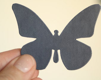 14  die cut fake leather butterflies