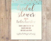 Mint Rose Gold Watercolor Baby Shower Invitation Bridal Shower Printable or Professionally printed Cards