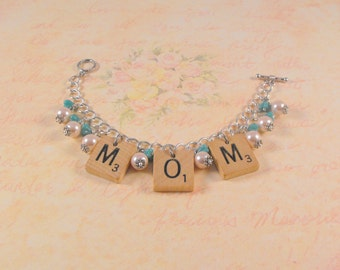Scrabble Tile Name Bracelet #2 / Game Pieces / Personalized