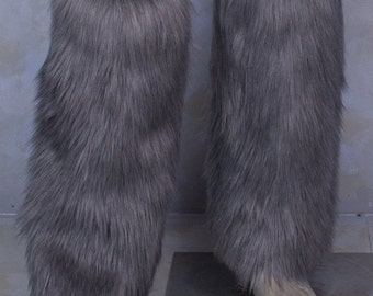 Grey Luxury Fur Legwarmers - for raves, cosplay, fur outfits, costumes