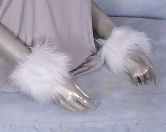 White Luxury Furry Wrist Poof Cuffs - Animal Costume, Rave, Goth, Cosplay