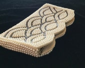 Art deco beaded purse, vintage clutch, hand beaded pearl and seed bead, bridal or prom accessory