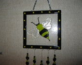 Fused Glass Bumble Bee Wind Chime -  Item 8-1063
