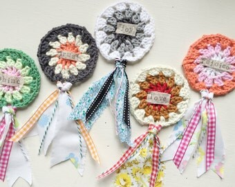 Set of TWO Crocheted Medallions, Awards, Medals, Rosettes with Vintage Fabric Scraps and Stamped Word