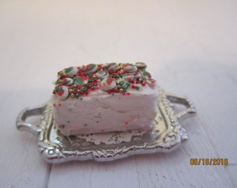 Miniature Christmas Cake on Silver Platter    Free shipping