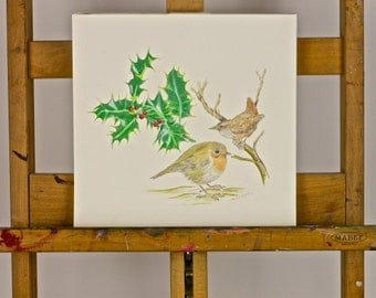 ORIGINAL DRAWING Yule, Christmas or Winter Solstice scene: Robin & Wren Enjoying Each Others Company nearby a Holly Branch. Sweet Company.