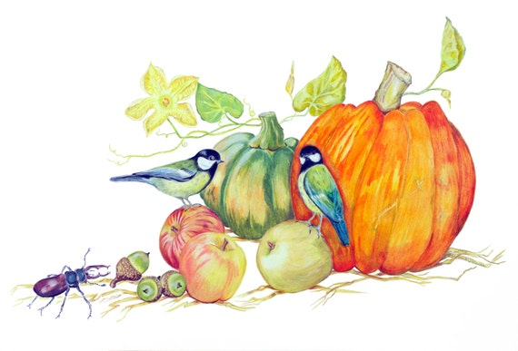 LIMITED EDITION Pumpkin with Chickadees, Apples, Acorns and a Stag Beetle, Feng Shui 5 Elements, Harvest Festival, Pumpkin Halloween Art