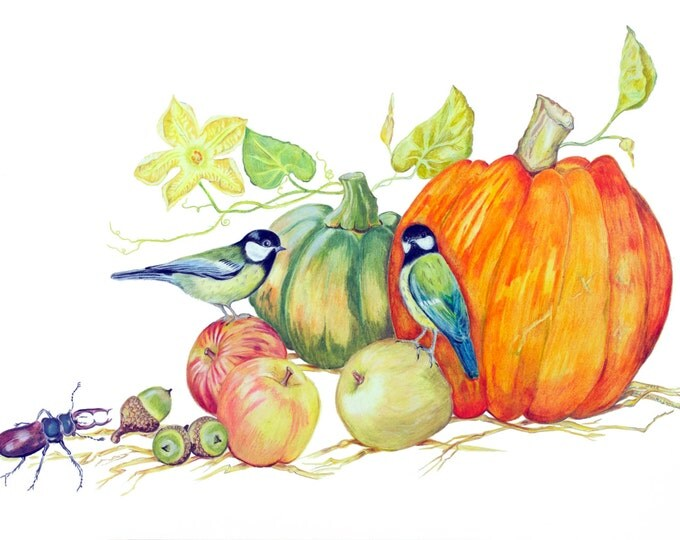LIMITED EDITION Vegan Nature Scene with Veggies Birds and Stagbeetle, Harvest Festival, Pumpkin Halloween Vegetable, Vegan Art, Vegan Food