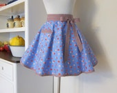 CLEARANCE SALE  -  Half Apron -  Retro Apron  - Hostess Apron - Kitchen Accessories -  Polka dot - Floral Apron by Emma Jane Company
