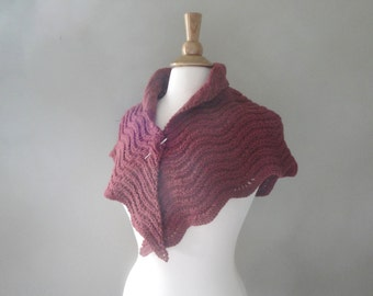 Wine Color Shawl, Small Shoulder Shawlette, Knitted, Wool, Lacy Scallop Wavy, Triangle Scarf