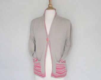 Knit Cardigan Sweater, Cotton Sweater, Tan with Pink Stripes, One Button, Pockets, Sz. M-L Women's Cardigan