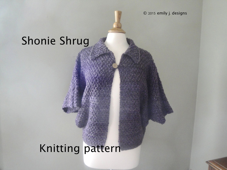 Knitting Pattern Shrug Cardigan : Shonie Shrug Knitting Pattern Dolman Sleeve Cardigan by ...