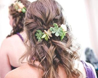 Succulent & Peony Hair Combs
