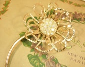 Vintage Sarah Coventry Brooch Allusion Flower Pave Crystal Aurora Borealis Bridal Bouquet
