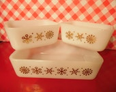 Reduced Refrigerator Dishes Glasbake Gold Snow Flake Set Of 3 Made In USA Vintage 1970s