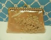 Vintage Make Up Bag Plastic Coated Clutch Purse Hollywood Regency