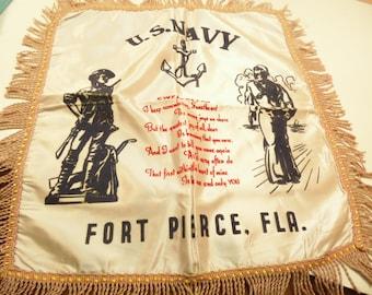 US Navy Satin Pillow Cover World War II Sweetheart Souvenir  Fort Pierce Florida Vintage Home Decor