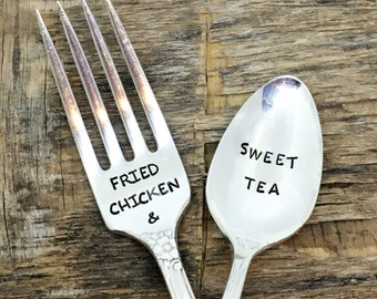 FRIED CHICKEN and SWEET Tea -  Set of Upcycled Vintage Silverware Fork/spoon set - hand stamped