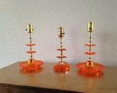 Vintage Set Orange Lamps, Matching Bedroom Lamps, Orange Plastic Lamps, Vintage Working Lamp Set, 3 Lamp Set, Dresser Lamps