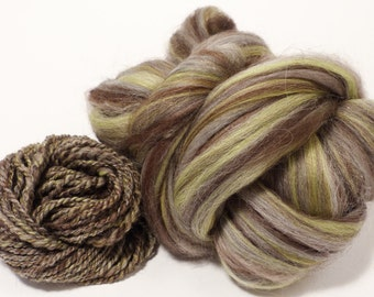 Ammonite  -( 2 oz.)  Custom blended top - Merino/ YAK/ Alpaca/ Mulberry Silk/ Bronze Angelina ( 55/25/15/5)