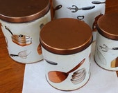 Vintage Canisters Copper White Kitchen Utensils Tin Mid Century Metal Set Four 4 Weibro