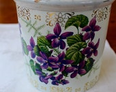 Vintage Tin Box Canister Royal Kerry Fruit Drops Violets White Purple Green
