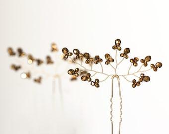 8222_Wedding gold pins, Bridal hair accessories, Gold metallic crystal pin, For bridal hair, Pins, Gold wedding,Vine bridal hair pieces.