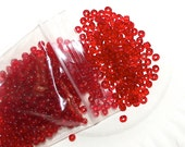 6/0 Glass Seed Beads / Spacer Beads Pony / E Beads 20 Grams Red Translucent / Transparent  by CzechBeaderyShop