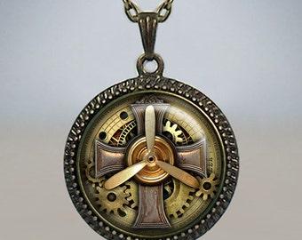 Steampunk Aviator pendant, Steampunk Celtic Cross pendant Airplane Pilot pendant Steampunk jewelry Steampunk necklace aviator necklace