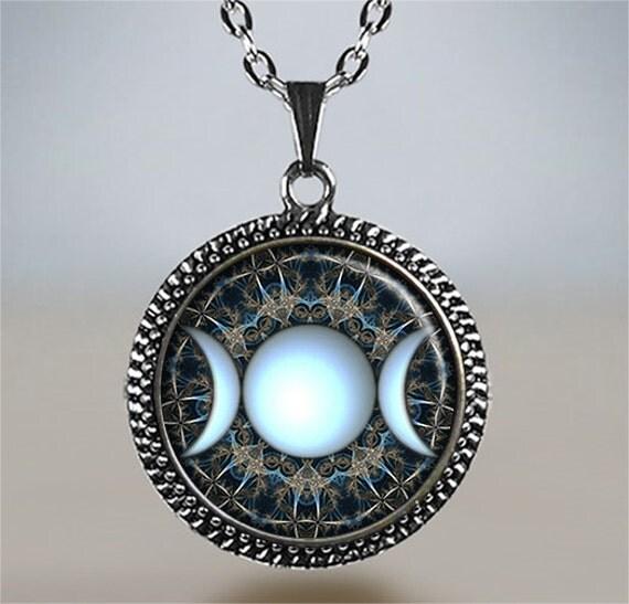 Triple Goddess Necklace Moon Jewelry Goddess Jewelry Moon