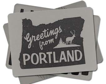 5 Hipster Portland Postcards Set, PDX, Retro Fonts, Holiday