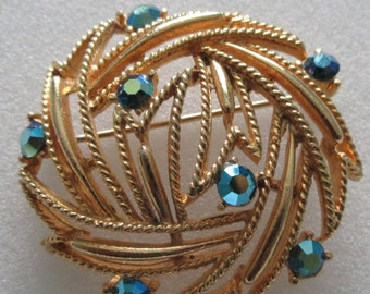 Vintage ~ Signed LISNER ~ Large BROOCH ~ with Aurora Borealis Stones ~ Abstract / Brutalist Design ~ Must See
