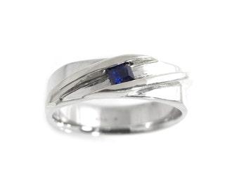 Princess Blue Sapphire Ring Sterling Silver - Synthetic Sapphire Ring - Square Sapphire Gemstone Ring - Modern Gem Ring - Channel Set Ring