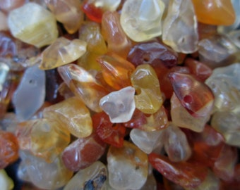 Small Carnelian Chips, Drilled -- 150 Chip Beads