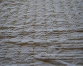 Large Piece Soft Ivory Vintage Chenille Bedspread Fabric 21x24