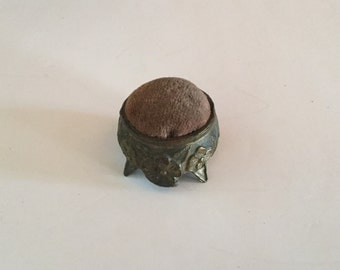 Antique Pin Cushion,Brass,Copper,Old Sewing Supplies