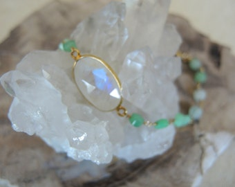 Chrysoprase Bracelet, Moonstone Bracelet, Moonstone Jewelry, 18K Gold Vermeil Bezel Bracelet, May & June Birthstone, Jewelry Gifts For Her