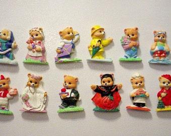 Twelve Bear Magnets, Bear Of The Month Magnets, Vintage Magnet Lot, Child's Room, Nursery Decor