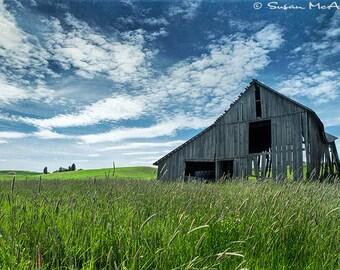 Landscape Photograph, Vintage Barn Photo, Farmland Photograph, Color Photograph, Large Wall Art, Home Decor, Fine Art, Blue, Green, Giclee