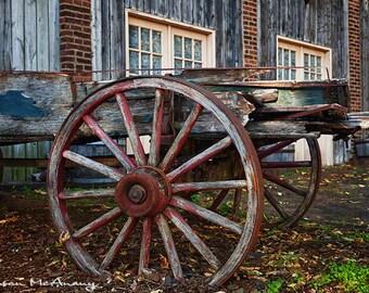 Wagon Photograph, Landscape Photography, Farmhouse Decor, Wall Art, Wagon Wheel, Color Photography, Brown, Blue, Rust