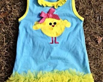 Easter Chick Chiffon Dress M, 3t