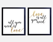 All You Need Is Love Set of 2 Art Prints || love quote, art print, typography, wedding present, couple, valentine's day gift, anniversary