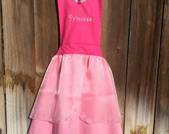 Pink Princess Dress-up Apron with Embroidered Name for Girls