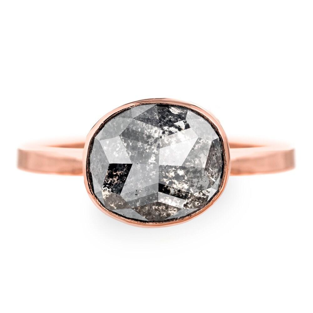 3 72 Carat Black Diamond 14k Rose Gold Engagement Ring