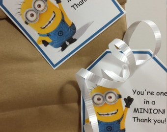 INSTANT DOWNLOAD Minion party favor thank you tags