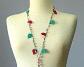 SALE, Crochet lariat scarf  - handmade crochet flower neckwarmer women accessories, winter - fall autumn fashion,