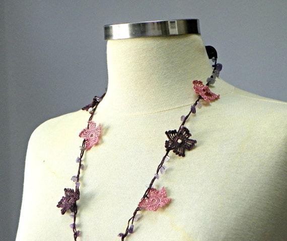 Crochet necklace, handmade crochet flower neckwarmer, women accessories