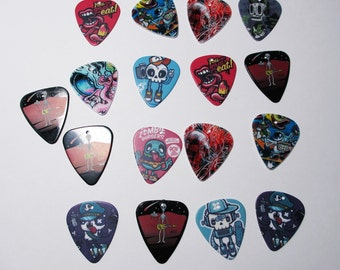 Guitar Picks Graphic for Jewelry Making and Crafts Zombies, Aliens, Eyeballs, Mouths