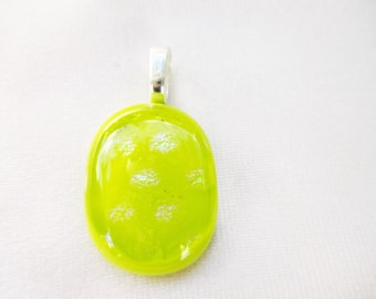 Handmade Yellow Glass Pendant with Sparkles OOAK Bright and Sunny