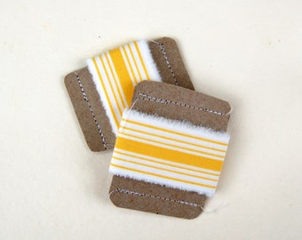 yellow ribbon, yellow striped ribbon, hand torn ribbon, frayed fabric ribbon, ribbon garland supply, gift wrap reusable eco friendly ribbon
